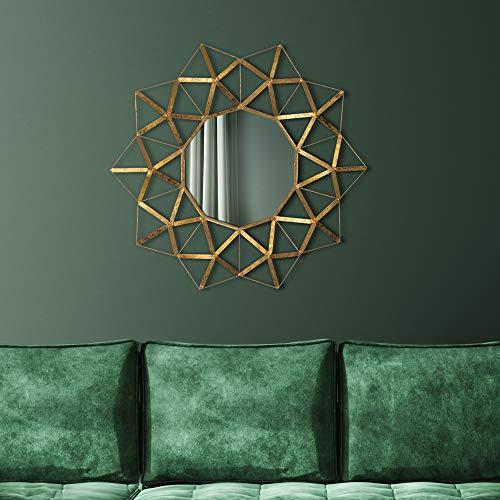WOMO-DESIGN Espejo de Pared Buenos Aires Ø75 cm Redondo de Cristal Marco de Metal Dorado Colgante de Diseño Moderno Elegante Circular Decorativo de Baño Espejo de Maquillaje Tocador Vestidor