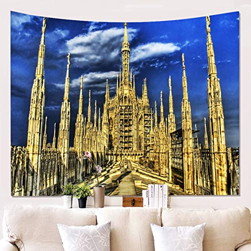 Ubestlove Home Decor Ornaments Milan Cathedral Cute Room Decor Tapestry Golden Blue Tapestry 150X200CM