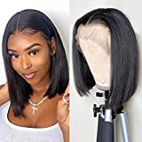 Glueless Human Hair Wigs Short Straight Bob Wigs 13x4 Lace Front Wigs for Black Women 130% Density Pre Plucked with Baby Hair Natural Black Color 12 Inch
