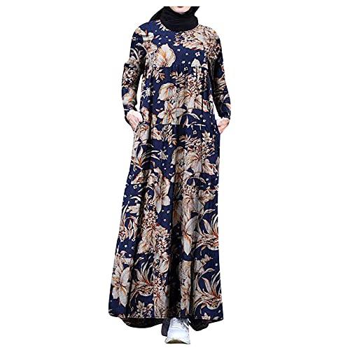 ASDVB Vestido de cóctel para mujer, retro, manga larga, estampado floral, cuello redondo, cintura alta, vestido de playa., marine, L