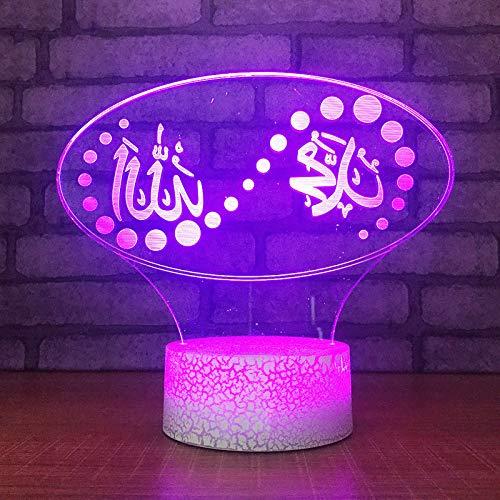 3D Muslim Islam Allah Optische Illusions Lampe 7 Farben Touch-Schalter Illusion Nachtlicht Für Schlafzimmer Home Decoration Hochzeit Geburtstag Weihnachten Valentine Geschenk