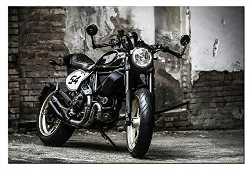 Leinwand-Bild Ducati Scrambler Cafe Racer Motorrad Motorräder Wandbild Cruiser Bilder Grafik Abstrakte Kunstdruck Dekoration