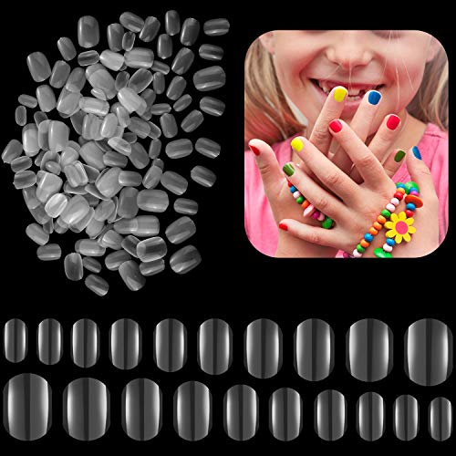 600 Pieces Children False Nails Natural Acrylic Nail Tips for Kids Little Girls Short Full Cover Fake Nails Artificial Fingernail Decoration, 10 Sizes (Clear)