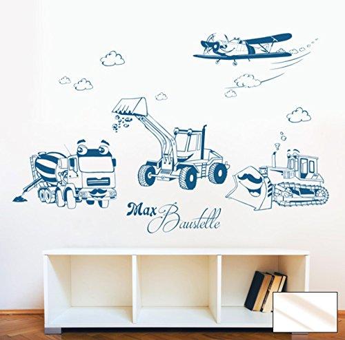 Graz Design M1733 Sticker mural Motif chantier de construction, pelleteuse, chenille et avion avec le nom au choix Couleur sélectionnée : verre dépoli Taille XXL 146 cm de large x 100 cm