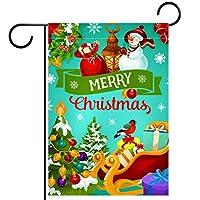 ガーデンフラグウェルカムバナーフラグヤードガーデン屋外装飾オールシーズンの垂直両面アートフラグ クリスマスツリースノーフレークボール
