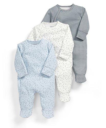 Mamas & Papas Baby-Jungen Strampler 3Pk Core Aio-Blue, Blau, 0-3 Monate