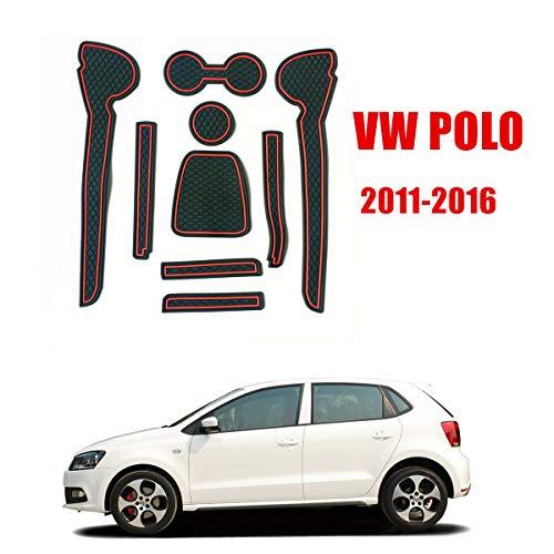 ORUN Auto Rutschfeste Innentür Tasse Kissen Matte Aufkleber für Polo VW Polo 2011 2012 2013 2014 2015 (ROT)