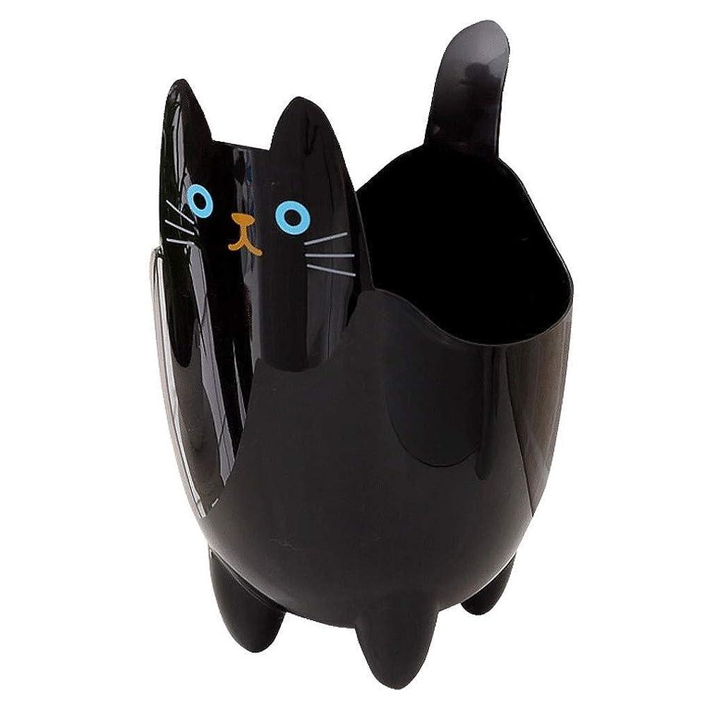 焦がす妨げる動くオフィスの浴室の居間のための創造的な収納収納バケツかわいい猫のゴミ箱 (Color : Black)