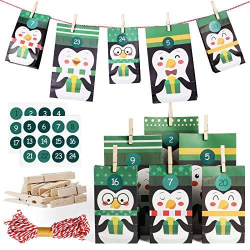 SveBake Adventskalender zum Befüllen Groß 24 Stück - Weihnachtskalender Pinguin Advents Tüten aus Kraftpapier mit Zahlen, 17 x 30 cm + 12 x 23 cm