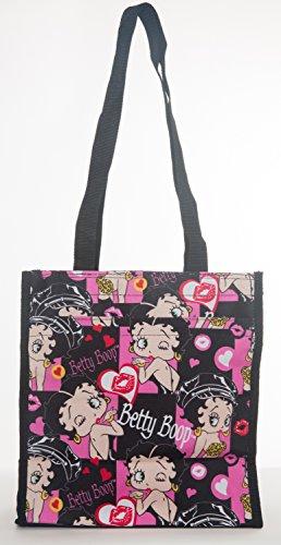 Betty Boop - Bolso reutilizable, color negro, con cremallera, con bolsillos y exterior impermeable