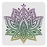 FINGERINSPIRE Plantillas de decoración de loto de mandala 30 x 30 cm, plásticas grandes de loto para pintar sobre madera, piso, pared y azulejos