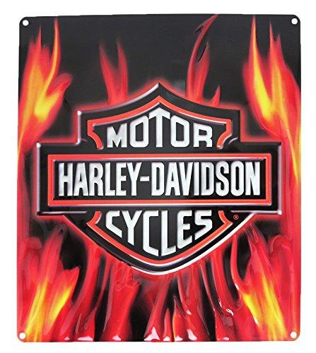 Harley-Davidson Embossed Flaming Bar & Shield Logo Tin Sign, 13 x 15 in 2011291
