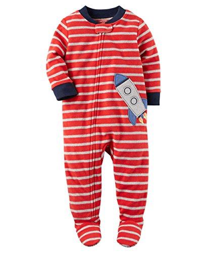 Carter's Schlafanzug Fleece 98/104 Einteiler Junge Boy warm Weich Winter Reißverschluss US Size 4 t (98/104, rot) (98/104, rot/grau)