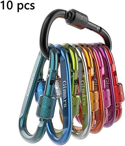 Gimars 10PCS Mousqueton Porte clé Clips de Verrouillage à vis D Alliage Aluminium ultra-légers pour Activités en plein air,Camping,Randonnée,Trekking,Pêche,Sac à dos,Charge maximale de 60KG,60 * 35mm