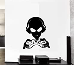 Alien Gamer Headphones Video Games Gaming Vinyl Decal Sticker Wall Art Mural - Car, Laptop,Wall Room (Designs # 1)