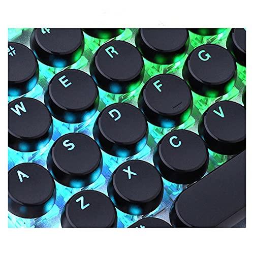 Conjunto de Llaves Máquina de Escribir Retro Redondo translúcido Retroiluminación 104/87 Tapa de Llave, con Palo de Llaves, Adecuado para el Teclado de Juego mecánico Teclado keycaps