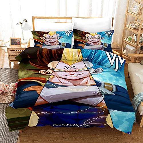 Duvet Covers Super King Size 260x240 cm Bedding set by Microfiber with 2 Pillowcases 50x90 cm for Adult and children bed with Zipper Dragon Ball Z Printing Duvet Cover set