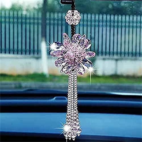 BMIDRUT Espejo retrovisor del coche ornamento Accesorios de cristal Colgantes de coche Bling Accesorios de coche para mujeres Espejo retrovisor del coche (rosa)
