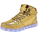 WONZOM High Top LED Light Up Shoes USB Charging Sneakers for Men Women-38(Gold)