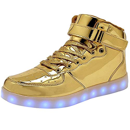 WONZOM Unisex High Top LED Light Up Schuhe USB Charging Turnschuhe-42(Gold)