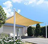 diig Outdoor Sun Shade Sail Canopy, 10' x 14' Rectangle Shade Cloth Patio Cover - UV Resistant Sunshade Fabric Awning Shelter for Deck Yard Garden Carport (Sand Color)