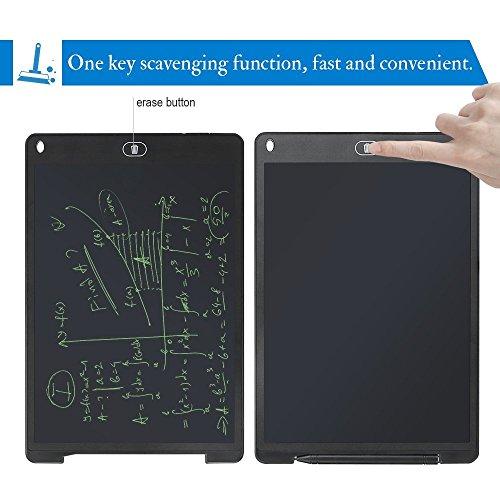 Haehne LCD Schreibplatte - 12 Zoll Digital Schreibtafel, Papierlos Grafiktablet von für Schreiben und Malen, Mini Tafel für Kinder Lernen Erwachsenen Büro, Schwarz