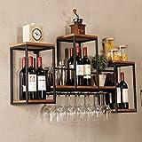 Casier à vin Étagère de vin en métal mural Loft, Support en verre Tablette en bois Support à vin 12 Unité de rangement Étagères flottantes pour des restaurants, des barres, la maison quotidienne