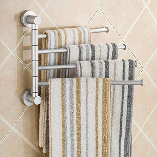 Toallero de actividad de aluminio para colgar en la pared, barra de toallas de baño, izquierda y derecha, 4 varillas de 31,5 x 26,5 cm