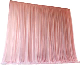 TINTON LIFE 6.6ft x 6.6ft Two Layers Tulle Backdrop Curtains for Party Wedding Baby Shower Birthday Decorations Photography Backdrop Christmas Background Decor Light Pink