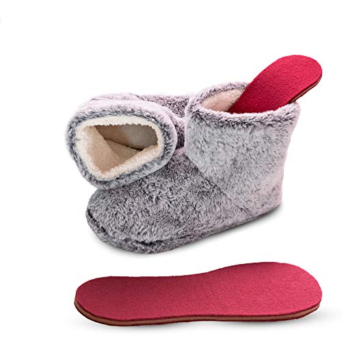 Microwavable Heated Slippers Feet Warmers Booties with Heated Insole Inserts for Instantly Warm Feet - Reusable Reheatable Washable - Promotes Good Night's Sleep- Grey Size 6-7