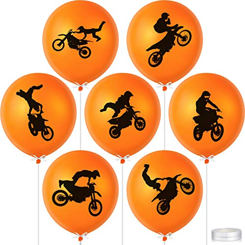 64 Pieces Dirt Bike Party Decorations Latex Balloons Motocross Game Birthday Balloons Party Supplies with 2 Rolls Ribbons for Racing Car Dirt Bike Motocross Sports Themed Party Decorations