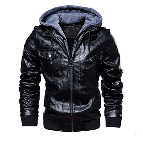 Landscap Men's Leather Motorcycle Jacket Hoodie Zipper Fashion Vintage Casual Outdoor Windbreaker Jacket Coat (Black A, 4XL)