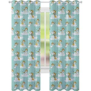 Crib Bedding And Baby Bedding Blackout Curtains For Bedroom,Angels Playing Harp In Sky Clouds Myth Folk Lyre Folk Music Band Joy, Perfect For Bedroom,Seafoam White Earth Yellow