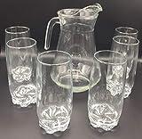 ML Set de Jarra para Agua 1.LTS Y 6 Vasos De Agua de Cristal Resistente 380cc