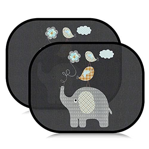 ACELIFE Auto Sonnenschutz Baby, Extra Dunkle Universeller Auto Sonnenblende 2 Stück mit UV Schutz, Selbsthaftende Sonnenblenden für Kinder, Autofenster Sonnenschutz Kinder + Tasche (Elefanten)