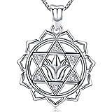 Friggem Flor de loto de hexagrama superpuesta collar y colgante de plata esterlina con circonita plateada para mujeres y hombres, regalo del da de la madre