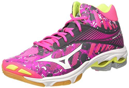 Mizuno Mizuno Damen Wave Lightning Z4 Mid WOS Volleyballschuhe, Pink (Pinkglowhiteirongate), 37 EU