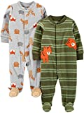 Simple Joys by Carter's 2-Pack Fleece Footed Sleep and Play Infant Toddler-Sleepers, Tigre/Animales, 3-6 Meses, Pack de 2
