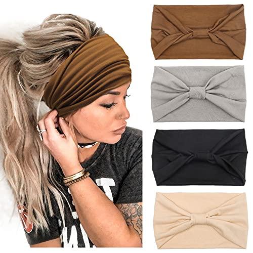 4 Stück Stirnbänder Damen Frauen Breites Haarband Haarreifen für Mädchen Boho Knot Elastische Lauf Yoga Kopfwickel Haarbänder Elastische Haarschmuck
