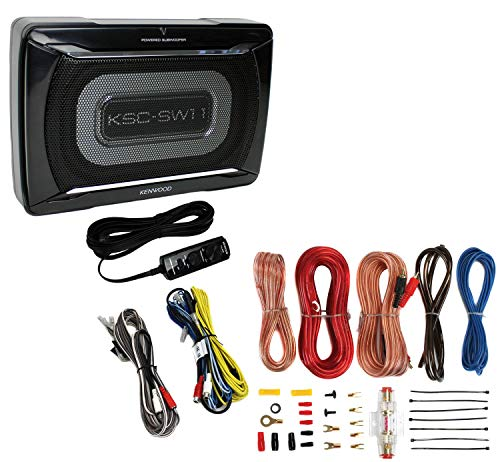 Price comparison product image Kenwood KSC-SW11 150W Low-Profile Amplified Car Subwoofer Enclosure+Amp Kit