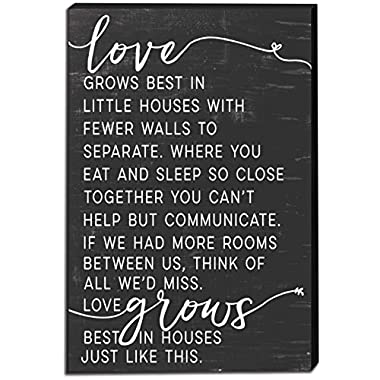 Kindred Hearts 12 x18  Love Grows Best in Little Houses Canvas Art