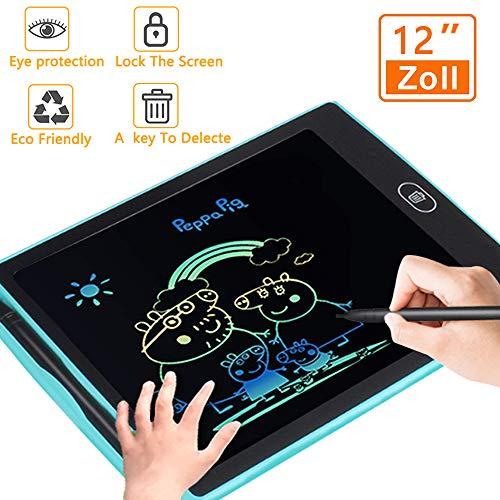 Bunte LCD Writing Tablet Schreibtafel 12 Zoll, mit Anti-Clearance Funktion und Stift, Grafiktabletts Schreibplatte Digital Papierlos Schreiben Tabletten für Kinder Schule Graffiti Malen Notizen
