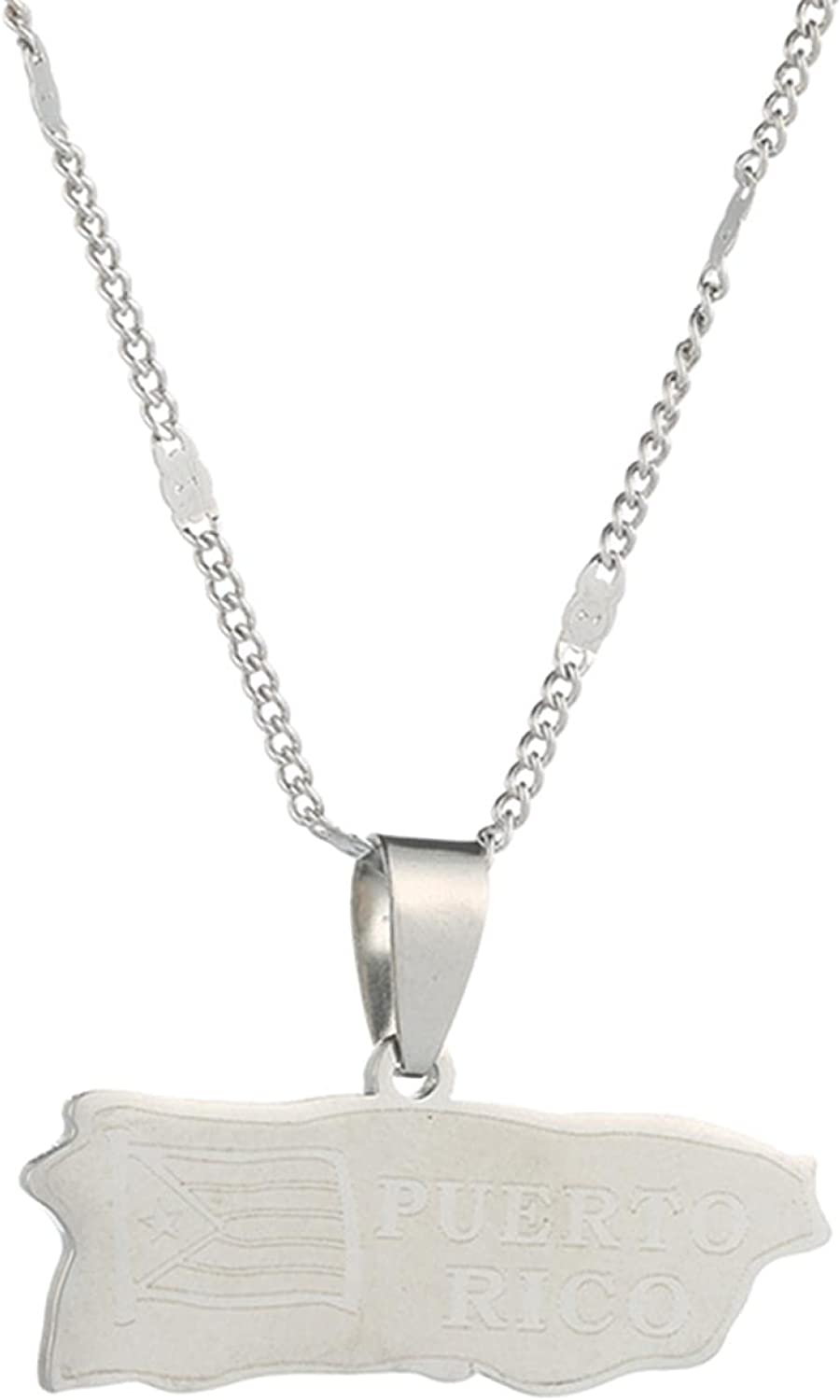 Stainless Steel Puerto Rico Pendant Ricans Max Ranking TOP19 45% OFF Map Necklaces