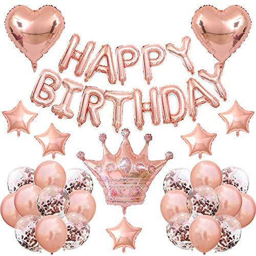 Jiaer Sentai Rosa Globos de Cumpleaños, Adornos Cumpleaños,  Fiesta Decoracion Cumpleaños Infantil,  Conjunto de Globos de Confeti de la Lámina de la Corona