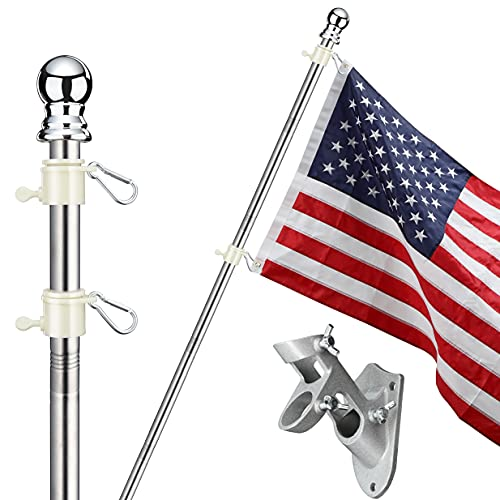 SANDEGOO Flag Pole Kit, 6FT Flag Pole with Wall Mounted Bracket and American Flag Rustproof Tangle Flag Pole for House Yard Residential or Commercial Silver