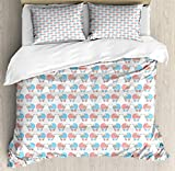 Nursery Double Bedding Duvet Cover 3 Piece, Pattern of Strollers with a Baby Inside, Luxury Soft Bedding Protects Comforter with 1 Comforter Cover And 2 Pillow Case, Sky Blue Blush White