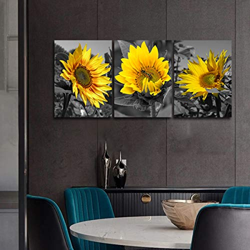 Sunflower Art Black and White - Yellow Floral Canva Panel Artwork Modern Painting Bee Picture Print Rustic Farmhouse Decoration Living Room Nature Wall Decor for Bathroom Kitchen unframed 12x16 inch