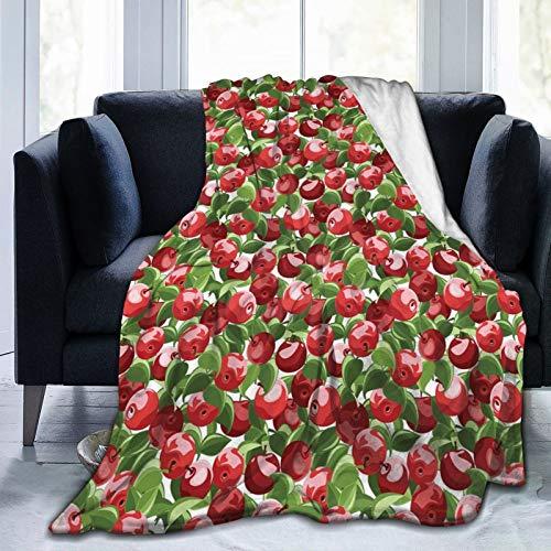 Manta esponjosa, manzanas rojas y hojas verdes orgánicas para jardín, cosecha, impresión de tema limpio, ultra suave, manta para dormitorio, cama, TV, manta para cama de 127 x 101 cm