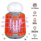 Zacro 2 en 1 Lampe Anti Moustique Lumières de Camping Batterie Rechargeable 2000 mAh, Portable, IPX6 Imperméable à l'eau, Crochet Rétractable et Abat-Jour Amovible Lanternes de randonnée