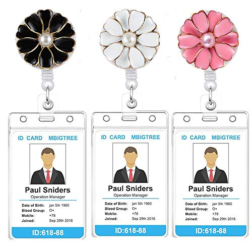 3Pack Retractable Badge Holder with Alligator Clip On ID Card Holders for Office Worker Doctor Nurse with Vertical Style Clear ID Card Holders (3Pack-Flower 1)